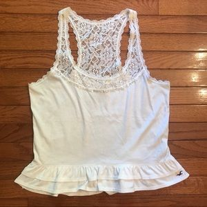 White Peplum Top with Lace Straps